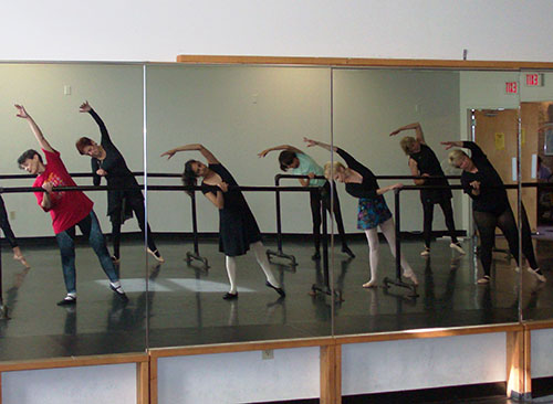 Natalie, far left in the red shirt, during a 50+ Ballet class at Danceworks