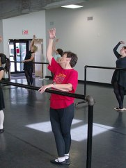 Natalie at the Barre in her 50+ Ballet class.
