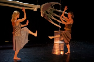 Hannah and Catey Ott with Kai's sculpture